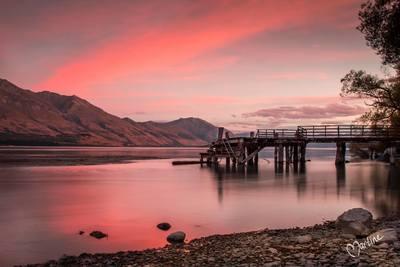 Sunset at Kinloch wharf - NZ