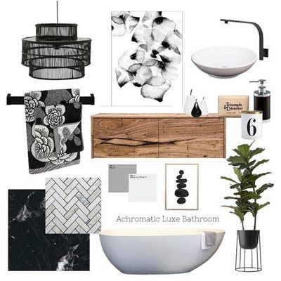 Achromatic Luxe Bathroom Moodboard